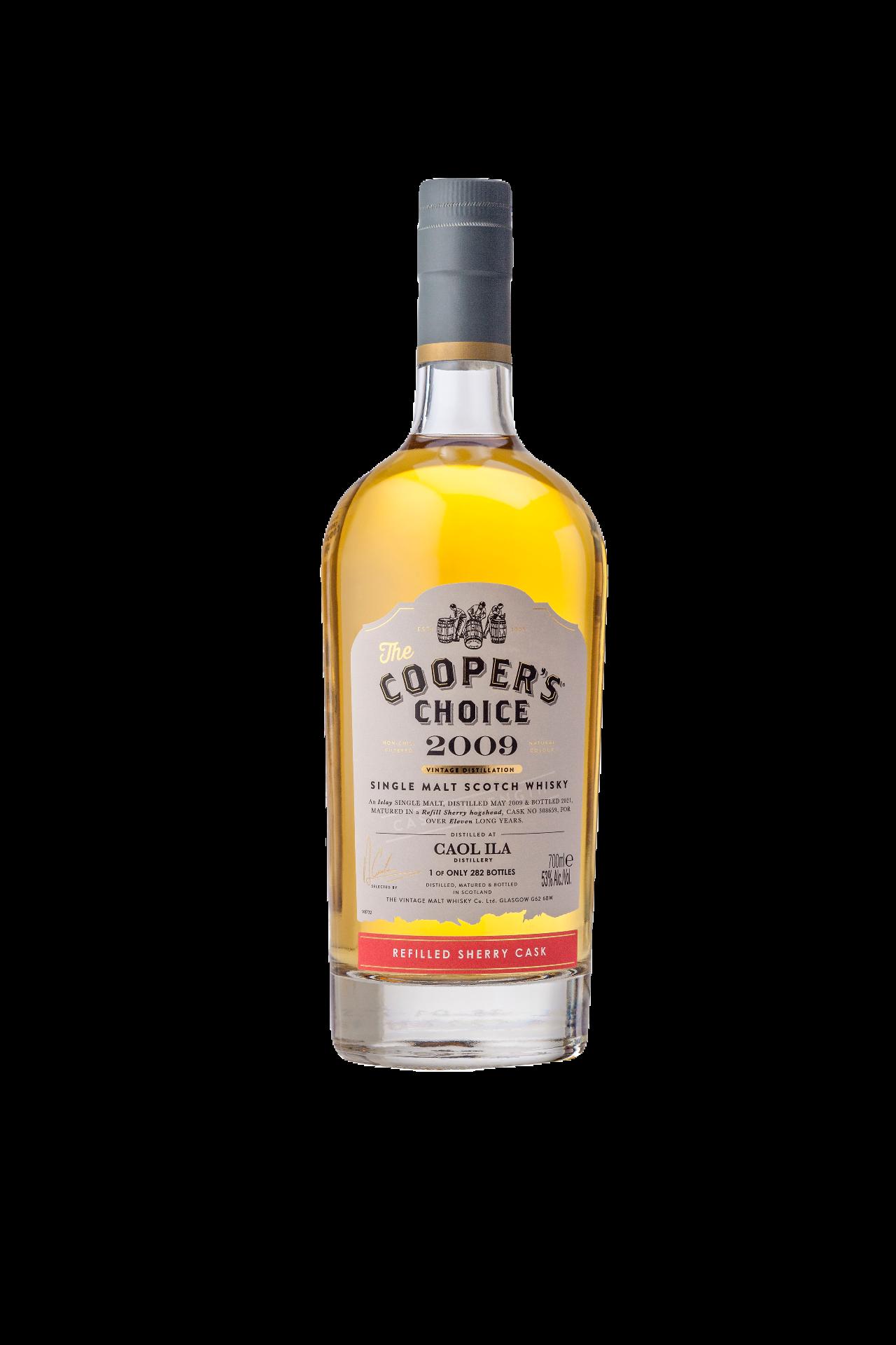 CAOL ILA 2009, REFILL SHERRY HOGSHEAD, 11 YO, 53% Cooper's Choice